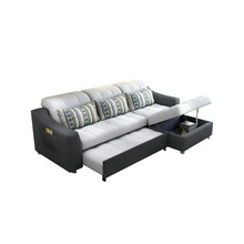 fabric sofa bed with storage living room furniture couch/ living room cloth sofa bed sectional corner modern functional headrest(China)