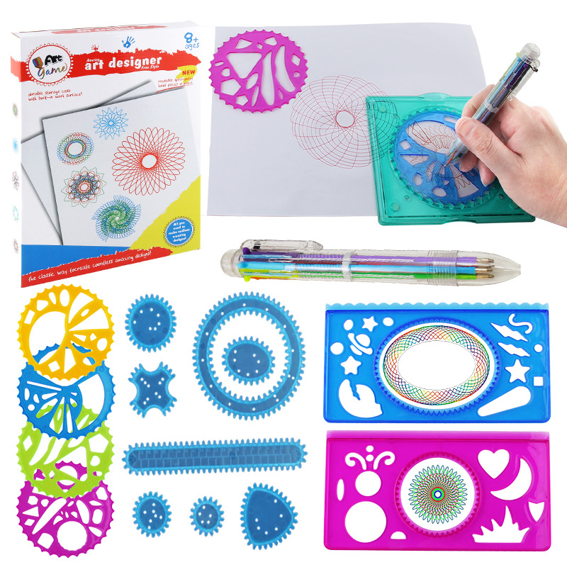 Spirograph Fantasy Set Children Fine Art Painted Template Ruler Stationery Set Drawing Fantasy Spirograph Package