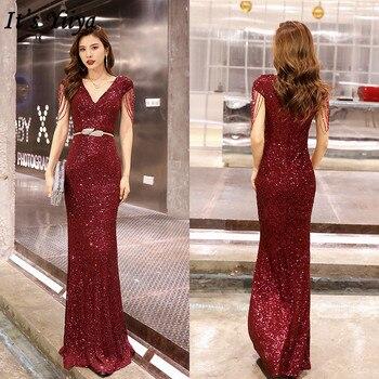 It's YiiYa Vintage Dress Beading Mermaid Zipper Short Sleeve Evening Dress 2019 Floor-Length V-Neck Solid Robe De Soiree K054