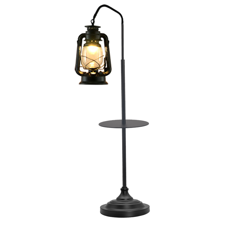 Kerosene <font><b>Lamp</b></font> Retro Vintage Black Floor <font><b>Lamp</b></font> With Table E27 <font><b>Standing</b></font> Light for Living Room Floor LED Bedroom Study Lustre image