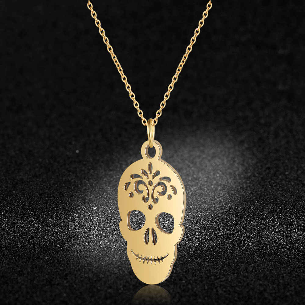 AAAAA Quality 100% Stainless Steel Unique Skull Charm Necklace for Women Never Tarnish Jewelry Necklace High Polish Special Gift