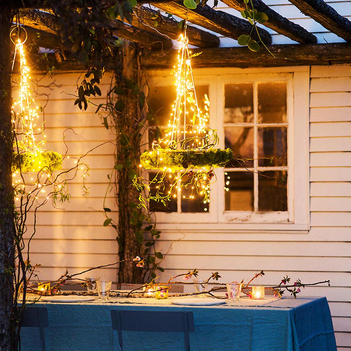 100/200LED سلسلة مصابيح تعمل بالطاقة الشمسية أضواء في الهواء الطلق مقاوم للماء أضواء ذات الأسلاك النحاسية لتزيين مهرجان الحديقة