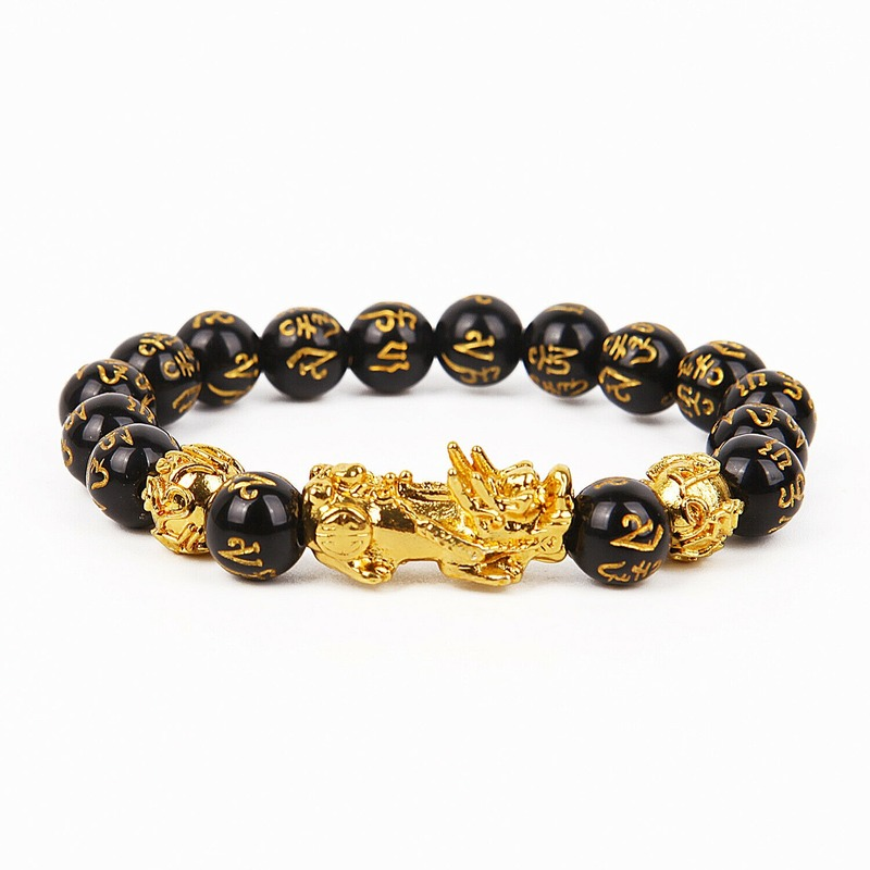 Feng Shui Black Beads Alloy Wealth Bracelet Unisex Wristband Gold Black Pixiu Wealth and Good Luck Women Men Bracelet