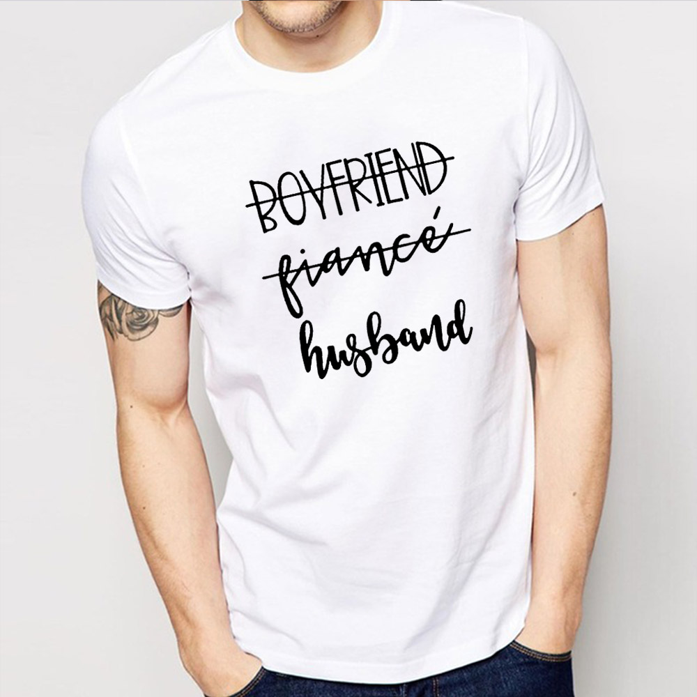Boyfriend Fiance Husband T-Shirt Future Mr White Tee Fiance Shirt Bachelorette Party Tops Trendy Casual Tshirt Engagement Gift