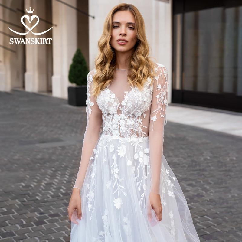 Boho 3D Flowers Wedding Dress Fairy Long Sleeve Illusion A-Line Court Train Swanskirt D111 Bridal Gown Princess Vestido De Novia
