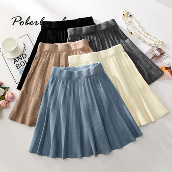 Autumn winter Knitted pleated A-line elastic waist skirt women 2019 Womens high waist casual large swing skirt female skirts