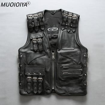 ANGLE 2021 New Men Black Motorcycle Leather Jacket Vest Fashion Multiple shoulder straps and belts can be adjusted Biker Vests 1