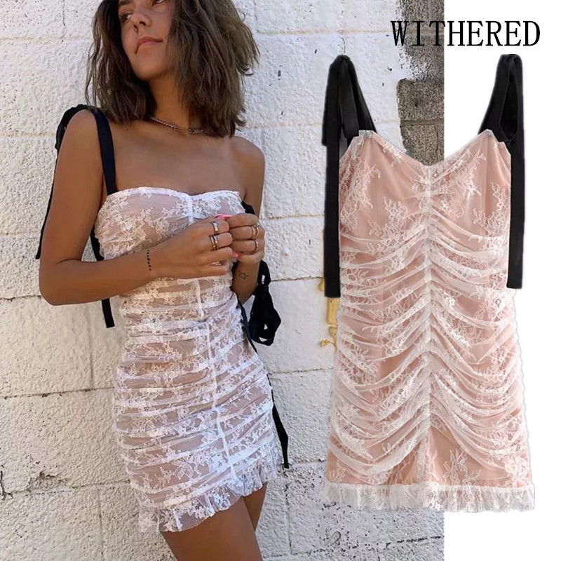 Withered Fashion Blogger Vintage Lace Pleated Strapless Sexy Party Mini Dress Women Vestidos De Fiesta De Noche Vestidos Blazers