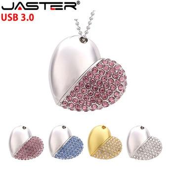 JASTER USB 3.0 Pen drive metal keychain 64gb 32gb 16gb Metal crystal heart usb flash drive pendrive waterproof customer logo