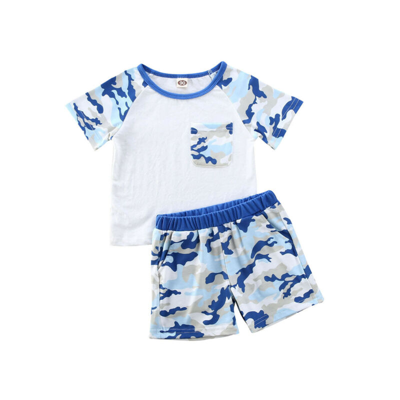 Baby Boys Summer Short Sleeve Clothes Set Pullover T-Shirt Tops Camouflage Shorts Outfits Suit