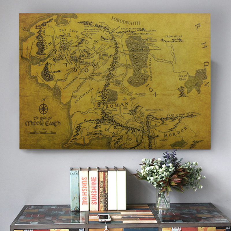 Lord Of The Rings Map Vintage Kraft Middle-earth Map For Home Decoration