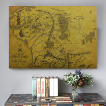 Lord of the Rings Map Vintage Kraft Middle-earth for Home Decoration