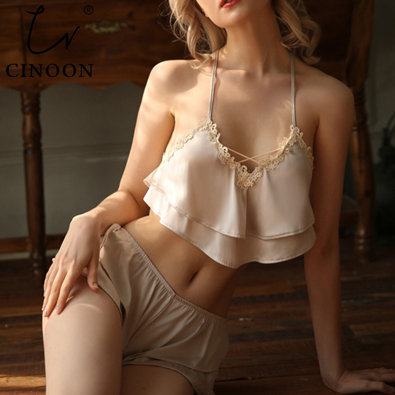 CINOON Sleeveless Lingerie Tops+Nightwear Shorts Women Pajamas Silk Pajamas Set  Lace Floral Sleepwear Cross Strap Nightsuit