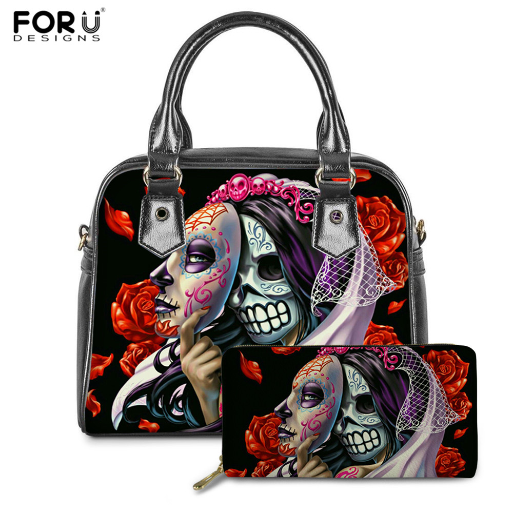 FORUDESIGNS 2020 New Sugar Skull Girls Print Luxury Handbags Rose Gothic Bags Brand Designer Ladies PU Leather Top-handle Bags