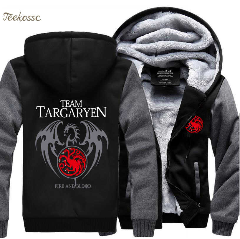 Game of Thrones Hoodies Männer Targaryen Feuer Blut Drachen Sweatshirt 2018 Winter Dicke Warm Zipper Marke Hoodie Street Hip Hop