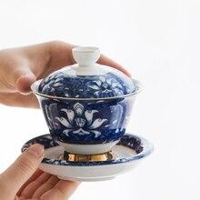 Сине-белый фарфор гайвань Цзиндэчжэнь глазурь миска с крышкой набор с чашкой блюдце крышка китайский tureen чайные пиалы на продажу