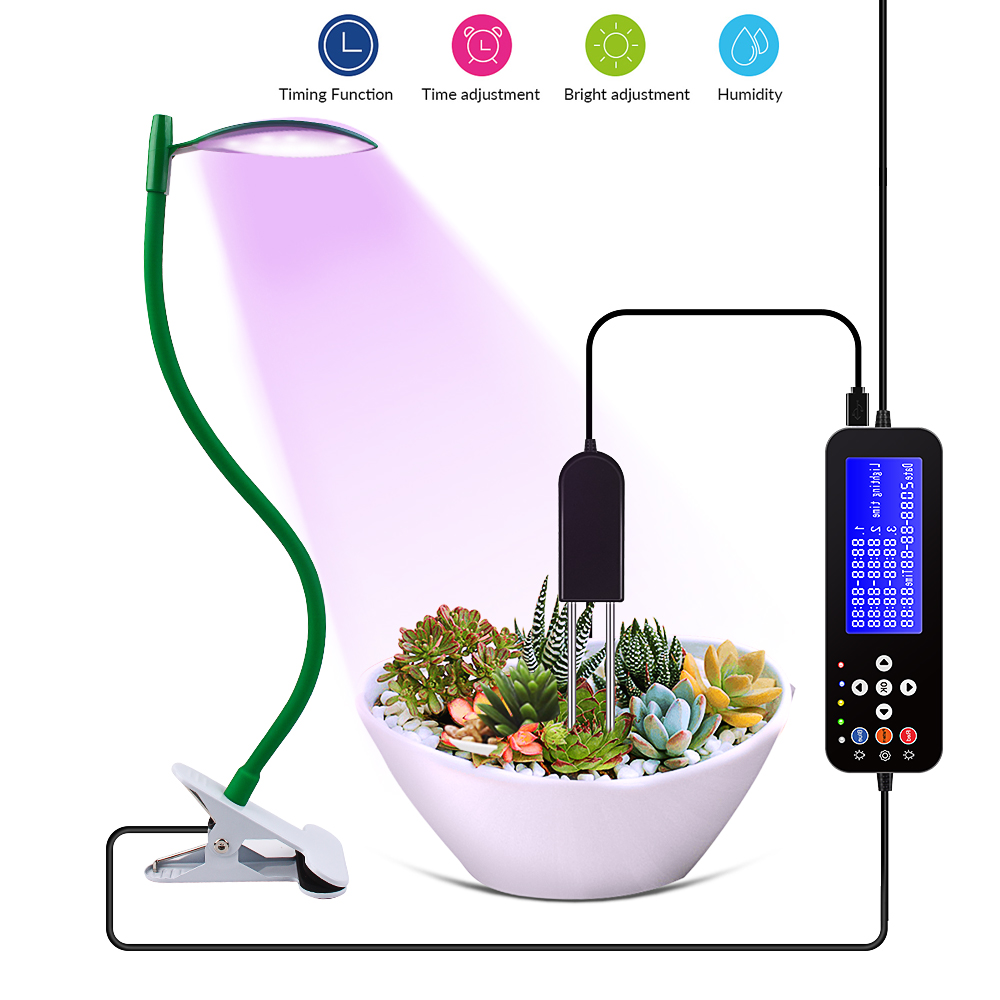 Full Spectrum LED Grow Light Dimmable With Timer Humidity Meter Plants Phytolamp For Indoor Tent Greenhouse Potted Plants Flower