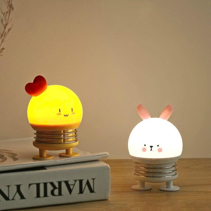 LED Spring Night Lamp Cartoon Chicken / Deer / Rabbit Night Light For Children USB Bedside Decoration Atmosphere Lamp Gift