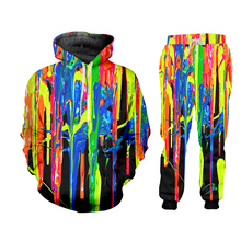 UJWI 3D Colorful ZIP Hoodies Suits Men's Sweatshirt Joggers Funny Harajuku Print Set Fall Winter Unisex Tracksuit Pant jacket