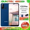 OUKITEL C23 Pro 4 Гб + 64 Гб 5000 мА/ч, 4G смартфон 6,53 ''в виде капли воды, Экран 13MP Quad камеры заднего Android 10,0 мобильный телефон