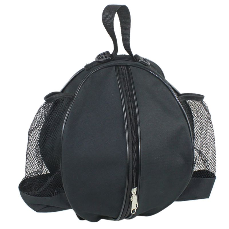 Round Backpack Adjustable Zipper Shoulder Strap Storage Bag For Football Basketball With Handle And Water Bottle Pockets