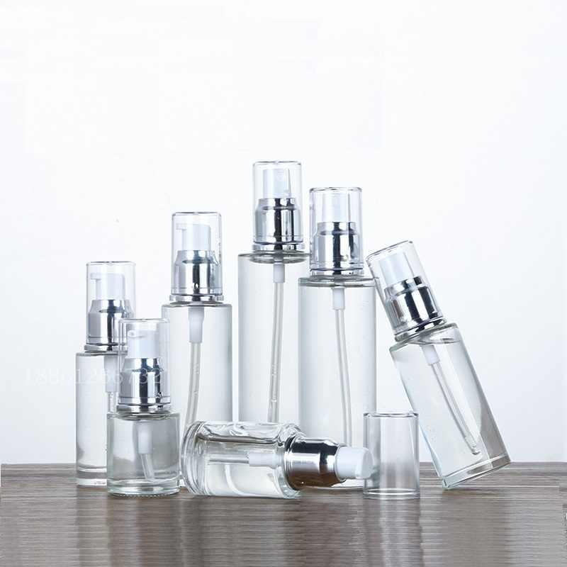 Şeffaf cam sprey losyon pompası emülsiyonu doldurulabilir şişesi gümüş kapak kozmetik ambalaj kabı 20ml 30ml 50ml 60ml 80ml 100ml