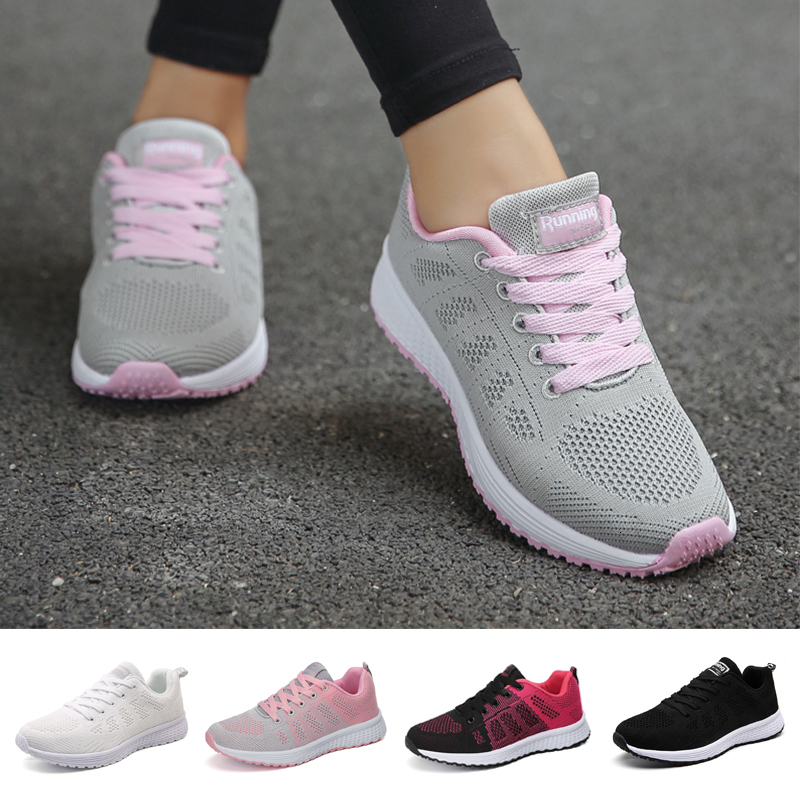 FLARUT Sport Shoes For Women Tennis Shoes 2019 Lace-Up Fashion Breathable Mesh Flat Sneakers Casual Shoe Calzado Deportivo Mujer 1
