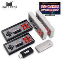 Datos Rana videojuego consola USB 8 Bit TV inalámbrico de mano Mini consola de juegos construido en 600 clásico doble Gamepad salida HDMI/AV