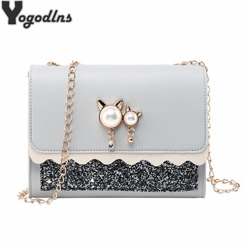 Sequin Glitter Women Messenger Bags Crossbody Chain Shoulder Bags Cat Pearl Ornament Female Handbag Lady Party Purse Clutch