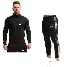 Men's new set zipper sportswear + jogging fitness pants two-piece zipper pocket fitness suit spring and autumn running clothing