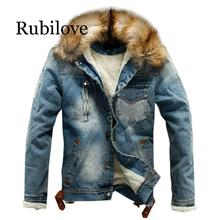 Rubilove Jean Jacket With Fur Men's Autumn Winter Jacket Many Pockets Button Rinsing Flick Denim Hooded Top men's Denim Jacket C men pockets denim jacket