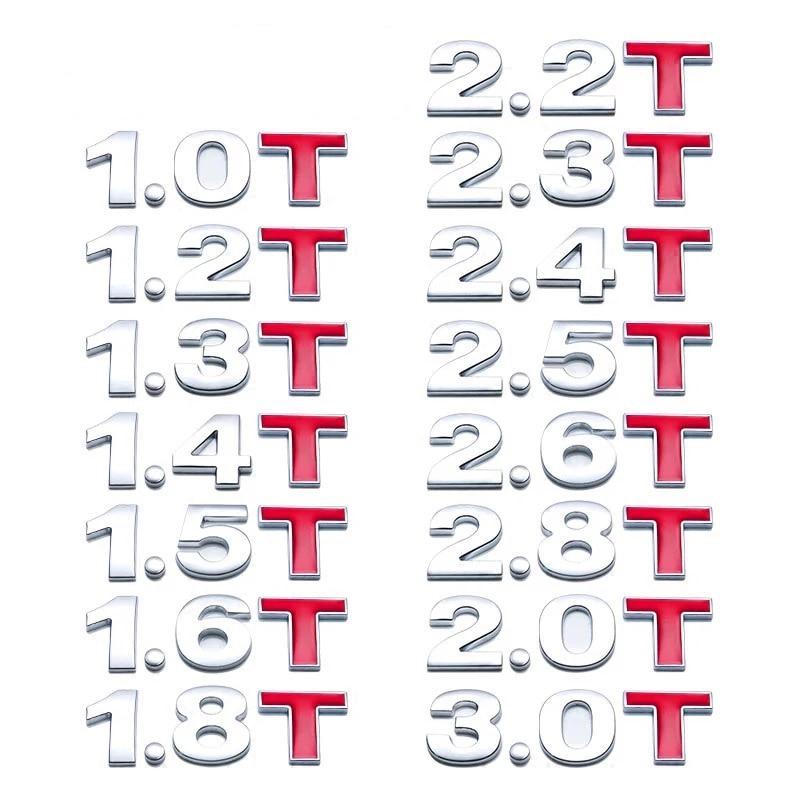 Автомобильный 3D металлическая наклейка Объем двигателя 1,0 1,2 1,4 1,5 1,6 1,8 2,0 2,2 2,4 2,5 2,8 3,0 T Логотип багажник автомобиля эмблемы Стайлинг наклейки