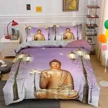 Juego de ropa de cama con estampado de Buda sentado, edredón con funda de almohada, textil para el hogar, tamaño AU/US/UK/EU, 2/3 Uds.