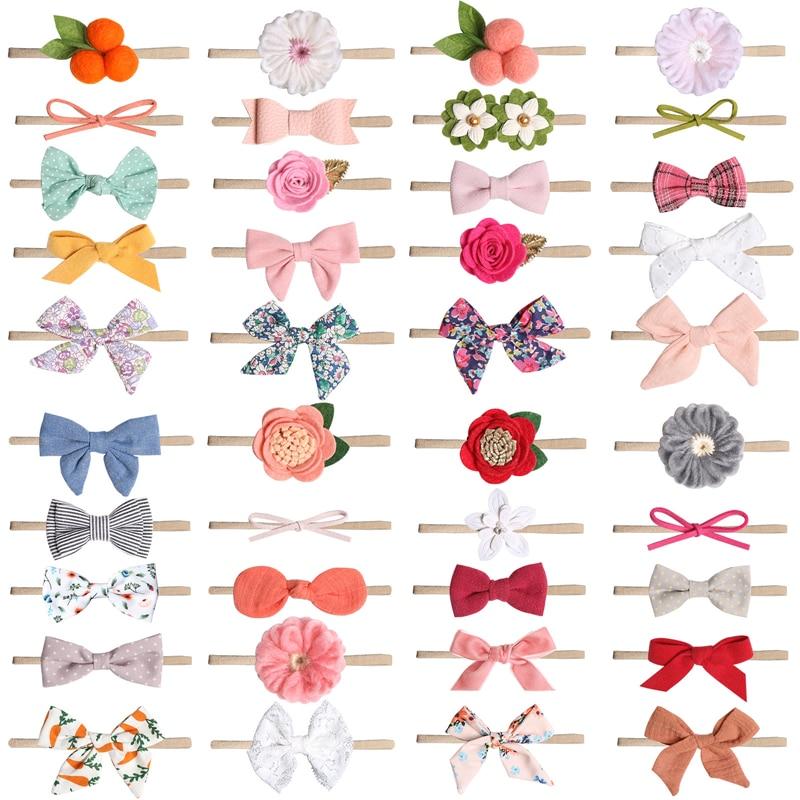 MeryYuer 50 Colors! Baby Headband Neonata Bow Flower Elastic Haarband Infant Headbands Children Turban Newborn Hair Accessories