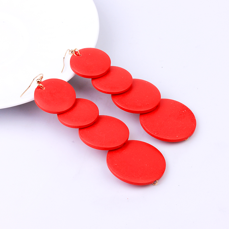 Fashion Long Wooden Earrings For Women Colorful Statement Geometric Drop Earring Vintage Jewelry 2020 New