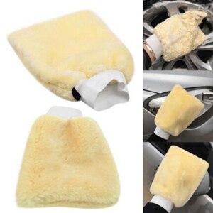 Image 2 - Prawdziwa skóra owcza Mitt Car miękka rękawica do polerowania Lambswool mycie czyszczenie polski czyszczenie samochodu mycie