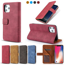 Mesh Vintage Leather Clip Cases For New 2019 Apple iPhone 11 pro Max Wallet Cover Kickstand Pouch Matte Shell With Card Pockets