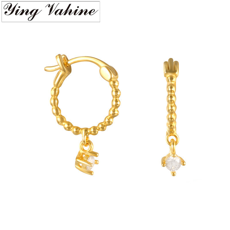ying Vahine 100% 925 Sterling Silver Exquisite Small Zircon Stud Earrings for Women