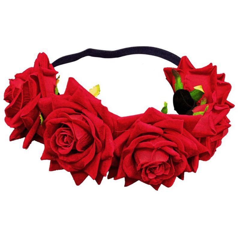 Bohemian Women Girl Velvet Rose Crown Headband Photoshoot Realistic Wreath Hairband Mexican Flower Wedding Party Garland