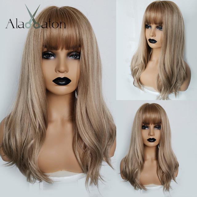 ALAN EATON Long Wavy Wigs Women Brown Blonde Natural Hair Wigs Female Synthetic Wig with Bangs Heat Resistant Fiber Cosplay Hair
