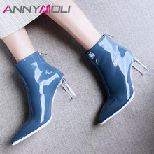 ANNYMOLI Winter Ankle Boots Women Natural Genuine Leather Zip Thick High Heels Short Boots Transparent Pointed Toe Shoes Lady 39 zvq genuine leather lady plush green ankle boots pointed toe thick 3cm heels 2018 popular elegant concise large size women shoes