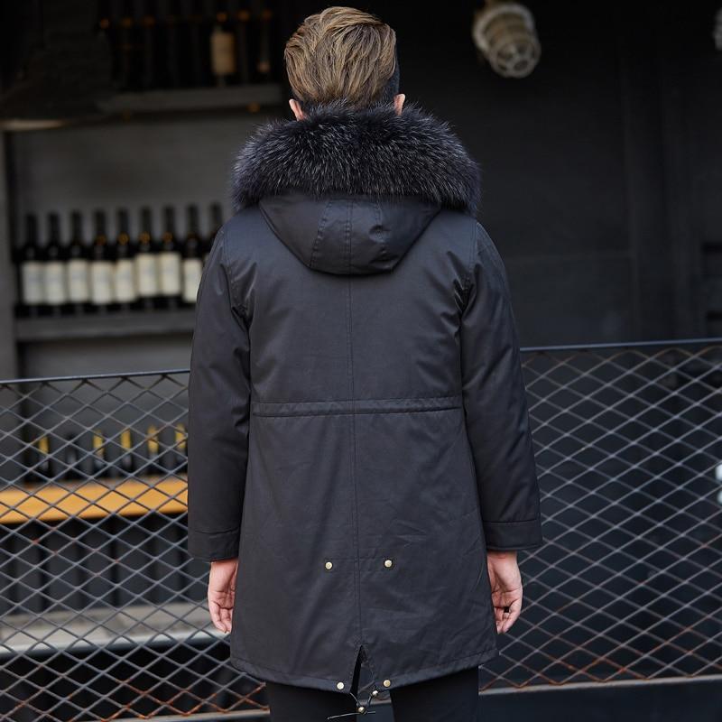 Winter Jackets Mens Real Fur Coat Men Plus Size Racoon Fur Liner Warm Jacket Parkas Manteau Homme Hiver MLSD-10 KJ1190