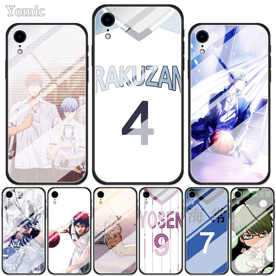 Kuroko No Basket Tempered Glass Cases for Apple iPhone XR 7 8 6 6S Plus X XS MAX Soft Edge Phone Cover Shell