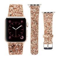 Correa de cuero 2021 para Apple Watch, 38mm, 40mm, mujer, Diamante brillante, 42mm, 44mm, Correa brillante auténtica, serie iWatch 6, 5, 4, 3, 2, 1