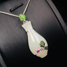 Natural White Jade Pendant Mosaic 925 Silver Trendy Women Jade Jewelry Free Necklace(China)