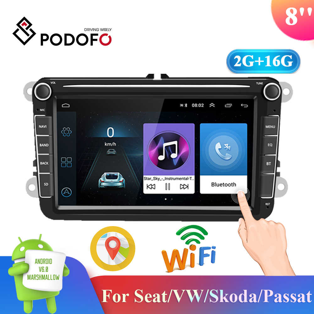 Podofo 8 ''Android 2 + 16G 2 Din Car Stereo Radio MP5 Multimedia Player GPS Bluetooth FM Radio ricevitore per Seat/VW/Skoda/Passat