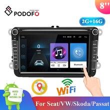 Podofo 8'' Android 2+16G 2 Din Car Stereo Radio MP5 Multimedia Player GPS FM Bluetooth Radio Receiver for Seat/VW/Skoda/Passat