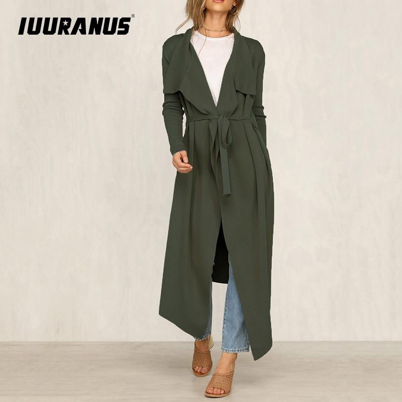 IUURANUS Autumn Fashion New Trench Coat Casual Cardigan Classic Vintage Long Black With Belt Chic Female Windbreak