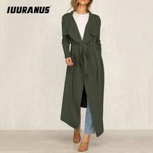 IUURANUS Autumn Fashion New Trench Coat Casual Cardigan Classic Vintage Long Black Trench Coat With Belt Chic Female Windbreak