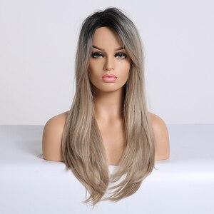 Image 3 - Lange Synthetische Wellenförmige Ombre Hellbraun Mittleren Teil Natürliche Haar Perücken Für Frauen Afrikanische Amerika Wärme Beständig Faser Perücken